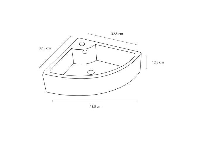 Hoek fonteinset Differnz Keres 32.5x32.5x12.5 cm Keramiek Wit (inclusief kraan sifon en afvoer)