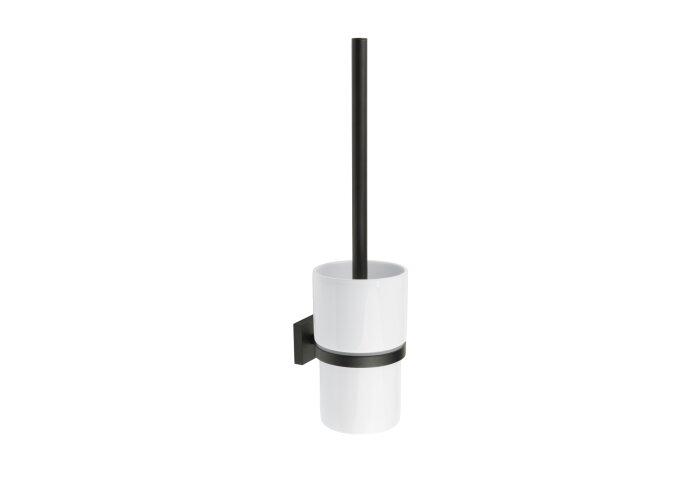 Toiletborstel met Wandhouder Smedbo House Porselein Glas Mat Zwart