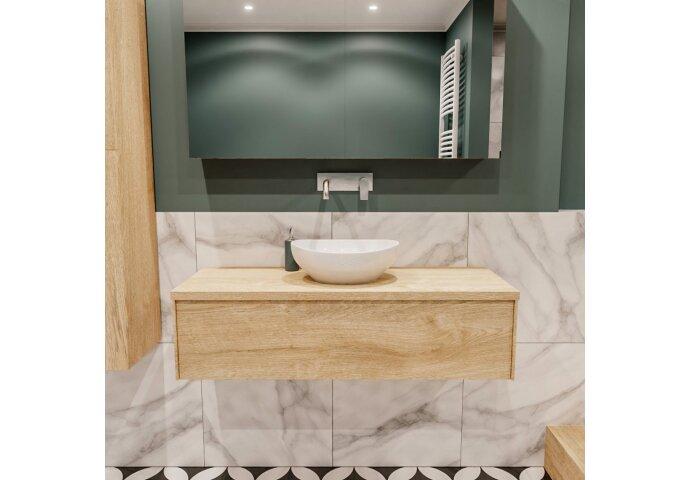 Badkamermeubel BWS Madrid Washed Oak 120 cm met Massief Topblad en Keramische Waskom (0 kraangaten)