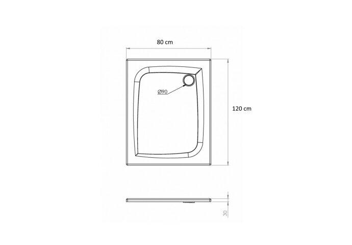 Douchebak Allibert Jacana Vierkant 120x80x3 cm Rechthoekig Bioplax Hoogglans Wit