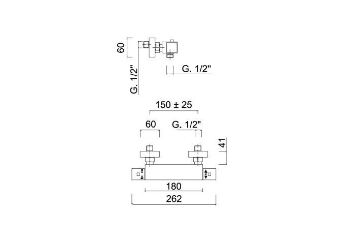 Douchekraan Opbouw Sanimex Giulini Thermostatisch HoH 15cm Chroom
