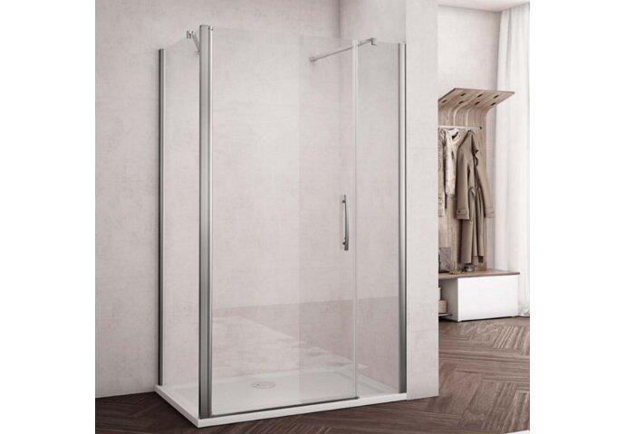 Douchecabine met Zijwand Lacus Montecristo Aluminium Muurprofiel Helder Glas 6mm (ALLE MATEN)
