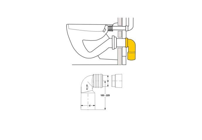 PE aansluitbocht 90-110 mm (Toilet onderdelen)