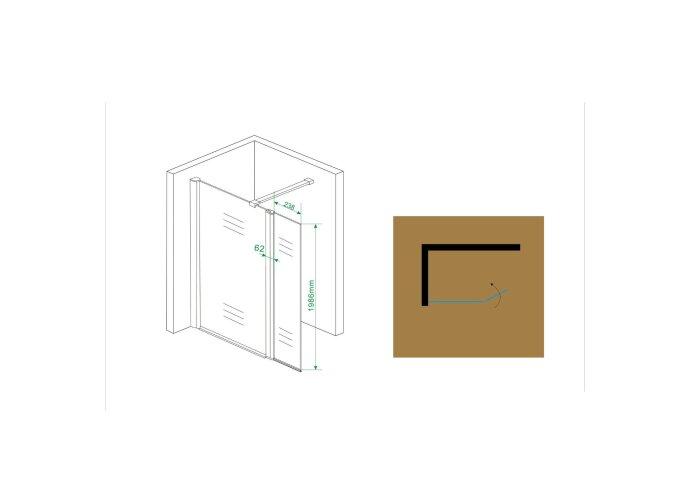 BWS Zijwand met Schanierprofiel 30x200 cm 10mm NANO Glas