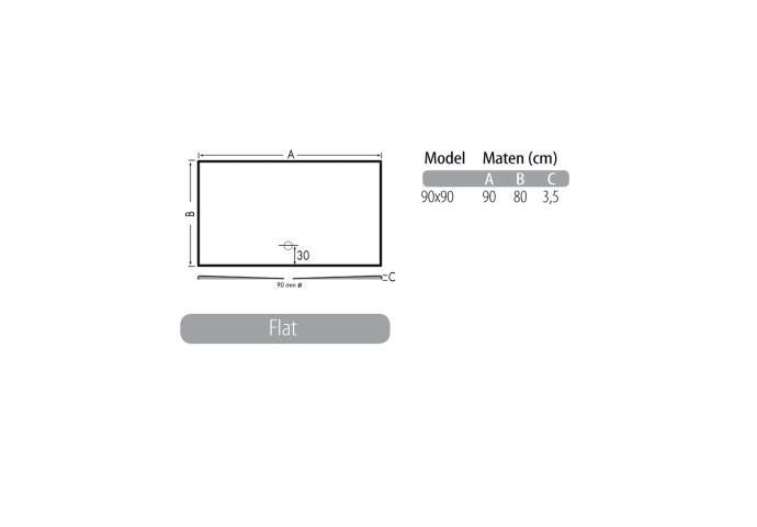 Luxe zelfdragende douchevloer Flat 90 x 90 x 3,5 cm