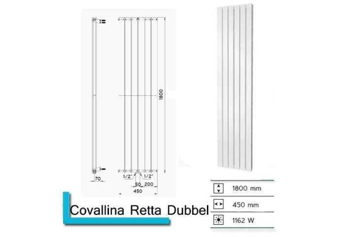 Designradiator Plieger Cavallino Retto Dubbel 1162 Watt Middenaansluiting 180x45 cm Mat Wit