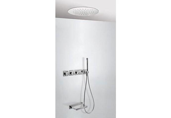 Tres Cuadro inbouw badthermostaat combinatie met handdouche en waterval baduitloop chroom 20735306