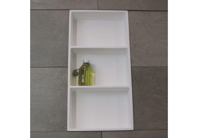 Inbouwnis Luca Sanitair 59,5x29,5x8cm Solid Surface 3 Vakken Rechthoek Mat Wit