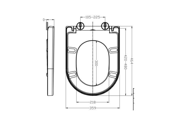 Toiletzitting Boss & Wessing Vesta Soft-close Tbv Wandcloset 52cm Mat Zwart