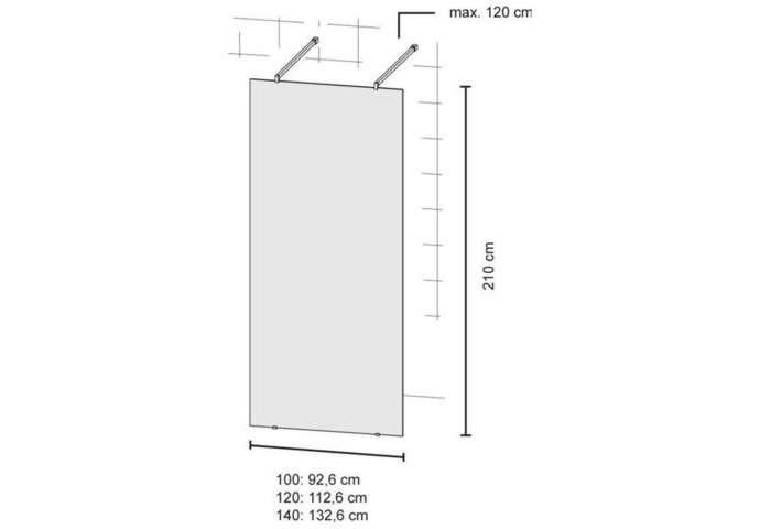 Bruynzeel Inloopdoucheset Lector 100 x 210 cm 8 mm Helder Glas Vrijstaand met Stabilisatiestang Aluminium