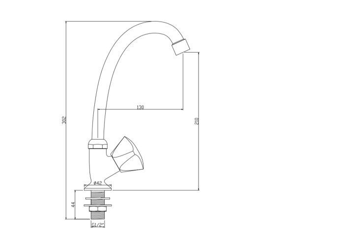 Creavit Cold Toiletkraan 1/2'' Chroom Met Keramisch Binnenwerk
