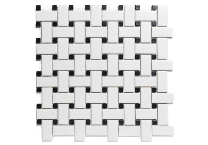Mozaïektegel The Mosaic Factory Paris Basketweave 23x48 mm Porselein Wit en Zwart