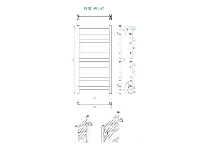 Handdoekradiator Sapho Metro Recht 45x89 cm Zilver