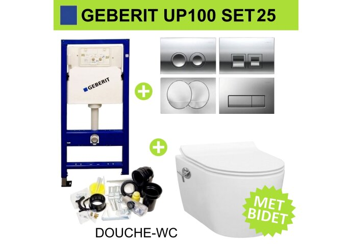 Geberit UP100 Toiletset set25 Idevit Alfa met Bidet Randloos met Delta drukplaat