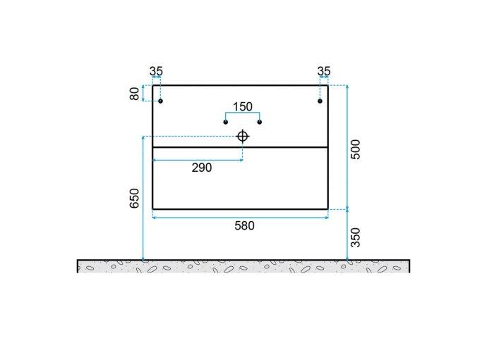 Badkamermeubelset Dekker Klea 60x50x44.5 cm Antraciet