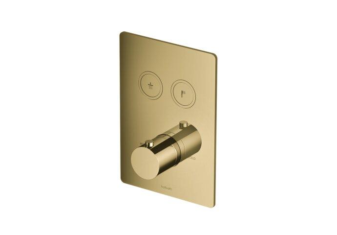 Douchethermostaat Hotbath Cobber Inbouw 2 Pushbuttons Vierkant Gepolijst Messing (excl. inbouwdeel)
