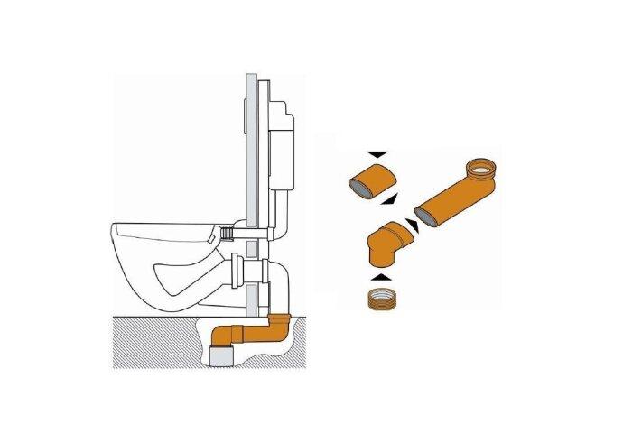 Geberit sprongbocht (buisdikte 72mm) 90/110mm verstelbaar 14.5cm-34.5cm
