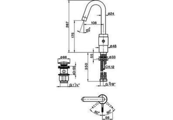 Wastafelmengkraan Cisal Step ST0005102A RVS