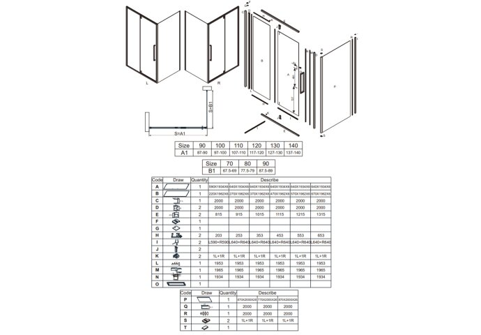 Klapdeur Lacus Murano Tweedelig Helder Glas 120x200 cm Aluminium Profiel Zwart