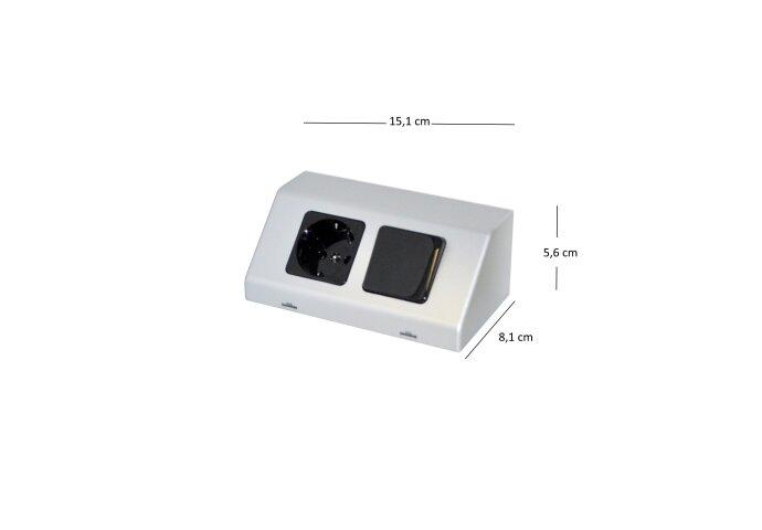 Contactdoos en Schakelaar Sanicare Inclusief Twee Snoeren 5,6x15,1x8,1 cm Zilver-Grijs