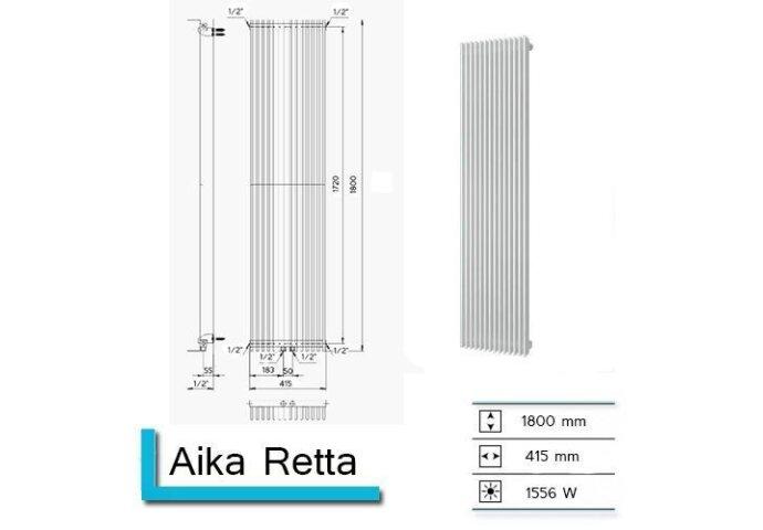 Handdoekradiator Aika Retta 1800 x 415 mm Donker Grijs Structuur