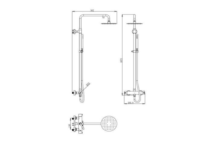 Regendoucheset Opbouw Sanilux 107,3 cm met Handdouche en Douchemengkraan RVS