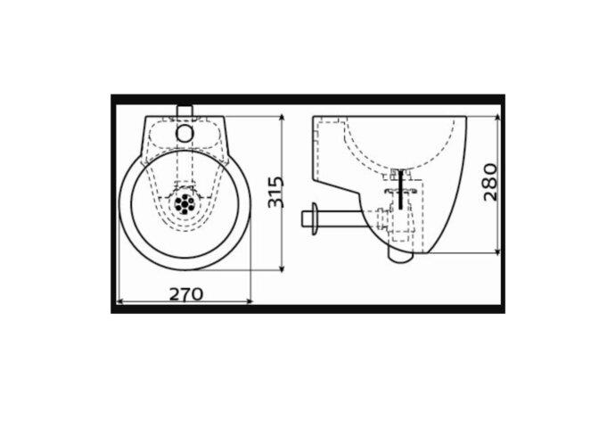 Fontein Clou Flush 6 met Plug en Bekersifon 27x28x31.5 cm Mat of Glanzend in 3 kleuren (met of zonder kraangat)