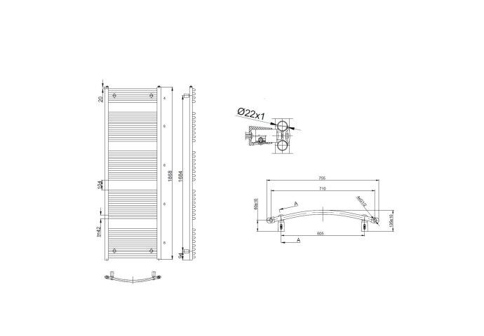 Handdoekradiator Sapho Aqualine Radiators Gebogen 186.8x75 cm Wit