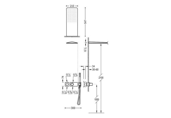 Regendouche Inbouw Tres Loft Thermostaatkraan 21x55 cm Douchekop Rechthoek Mat Zwart