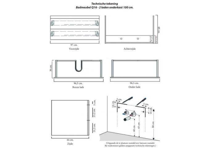 Badkamermeubelset Sanicare Q16 100 cm Antraciet (spiegel optioneel)