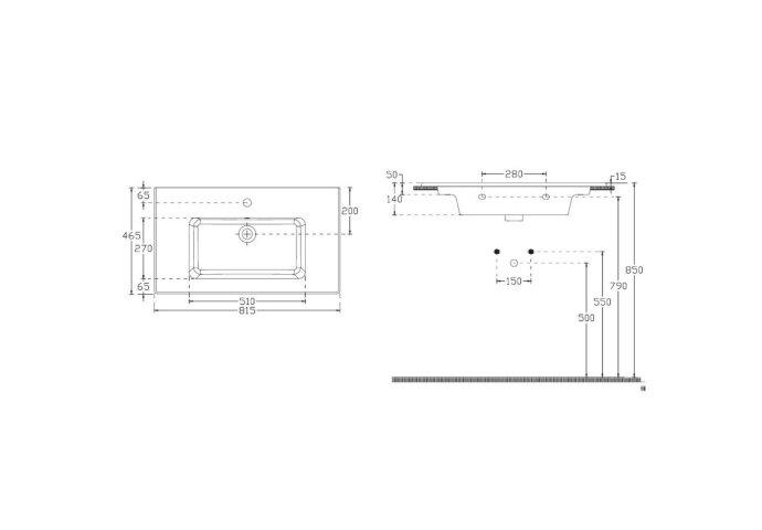 Badkamermeubelset Sanicare Q3 Twee Laden Soft-Closing Alu Greep 80x45 cm Antraciet (spiegel optioneel)