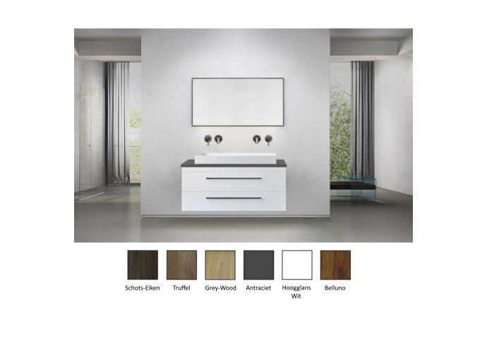 Badkamermeubelset Sanicare Q16 100 cm Grey-Wood (spiegel optioneel)