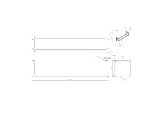 Gastenhanddoekrek BWS Industrieel 60x12.5x12.5 cm Mat Zwart