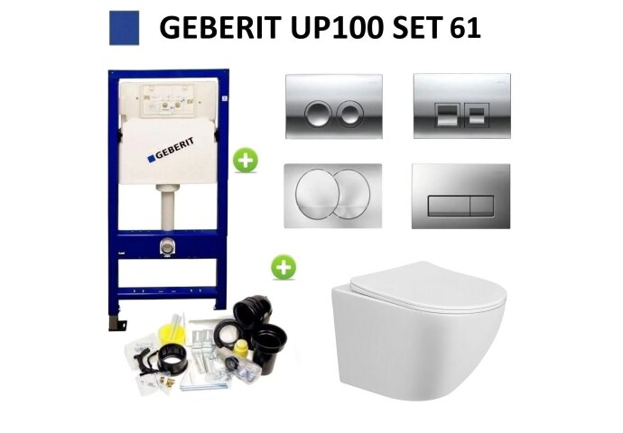 Geberit UP100 Toiletset Design Randloos Bano Set61 met Delta Drukplaat