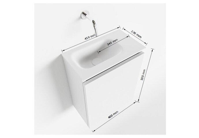 MONDIAZ TURE 40cm toiletmeubel linen. EDEN wastafel talc links 1 kraangat