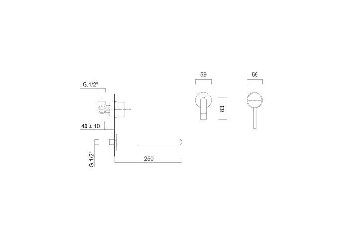 Inbouw Wastafelkraan Sanimex Giulini Eenhendel 25cm Mat Wit