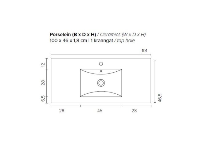 Badkamermeubel Boss & Wessing Pepper Wastafel Porselein Incl Spiegel En Kraangat 100x55x46 cm Antraciet