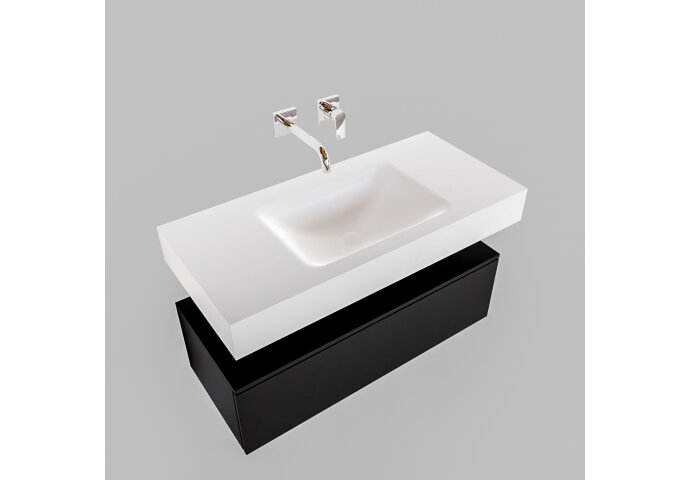 Badkamermeubel BWS Ibiza 100 cm Solid Surface Mat Zwart Wastafel Mat Wit (zes varianten)