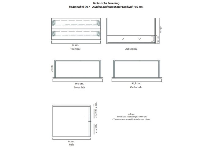 Badkamermeubelset Sanicare Q17 100 cm Antraciet (spiegel optioneel)