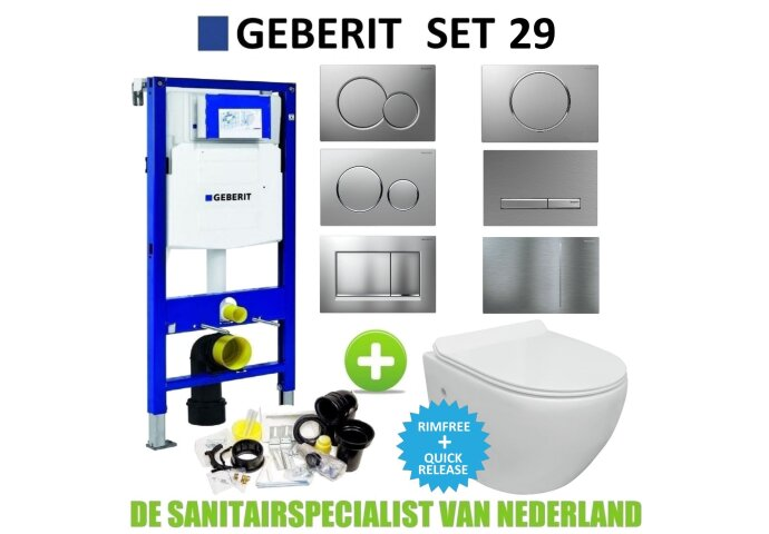 Geberit UP320 Toiletset set29 VM Go Aquaflow Randloos met Sigma drukplaat