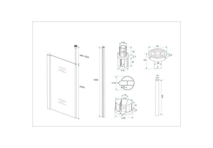 Douchewand met Verticale Stabilisatiestang Wiesbaden 10mm NANO Coating (ALLE MATEN)