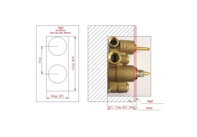 Inbouw Douchekraan Boss & Wessing Talpa Thermostatisch 16x6 cm Chroom