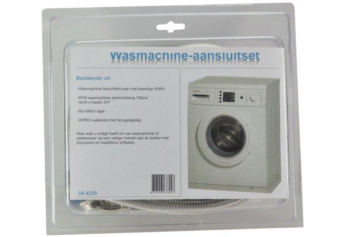 RVS wm aansluitset 150cm+kraan+waterslot