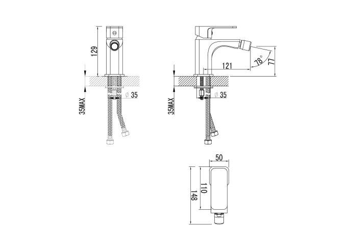 Bidetmengkraan Sapho Factor 1-hendel 12.9 cm Chroom