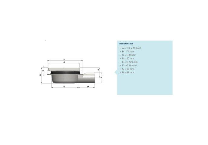 Doucheput Aquaberg ABS Vloerput RVS Rooster Laag Model Zijuitlaat 50mm 150x150mm PPC Reukafsluiter