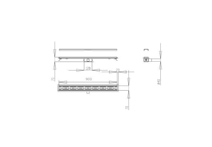 Douchegoot Best Design Black Met Flens 90x7x6.7cm Mat Zwart
