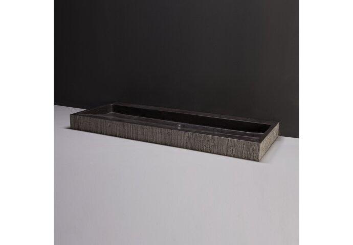 Wastafel Forzalaqua Oslo Hardsteen Gefrijnd 2 Kraangaten Antraciet 100,5x51,5x9 cm