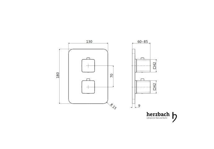 Inbouw Thermostaatkraan Herzbach Living Rechthoek 3-Weg Omstel Chroom (afgeronde hoeken)