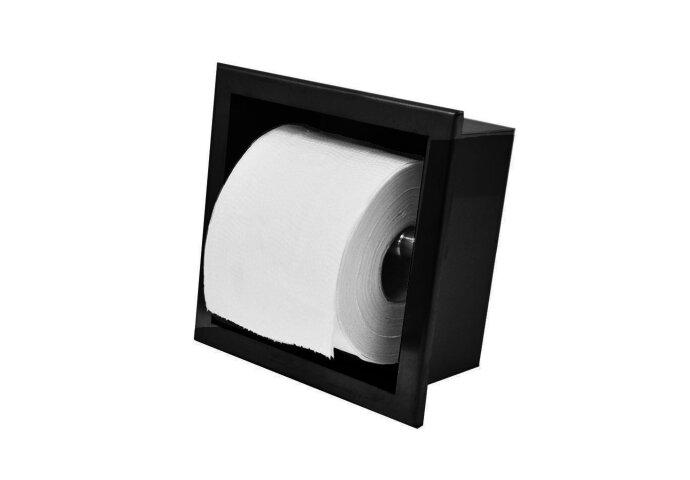 Inbouw Toiletrolhouder Wiesbaden RVS Mat Zwart (zonder Klep)