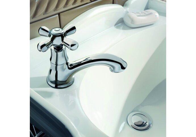 Fonteinkraan Hotbath Amice 1-kruisgreep Gebogen 9.7 cm Chroom